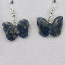 Load image into Gallery viewer, Flutter Carved Sodalite Butterfly Sterling Silver Earrings | 1 1/4 inch long | - PremiumBead Primary Image 1