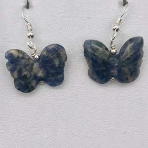 Flutter Carved Sodalite Butterfly Sterling Silver Earrings | 1 1/4 inch long | - PremiumBead Primary Image 1