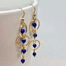 Load image into Gallery viewer, Natural AAA Lapis with 14Kgf Earrings 310268 - PremiumBead