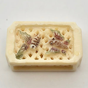 All A Flutter Butterfly Waterbuffalo Bone Box Pendant Bead 10755A - PremiumBead