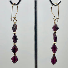 Load image into Gallery viewer, 14K Gold Filled Red Pyrope Garnet Earrings | 2 inches long | - PremiumBead Alternate Image 3