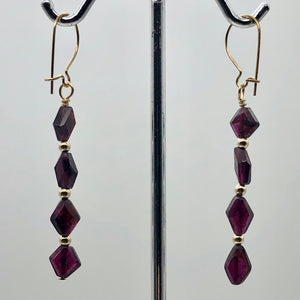 14K Gold Filled Red Pyrope Garnet Earrings | 2 inches long | - PremiumBead Alternate Image 3
