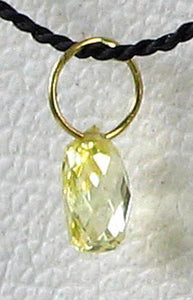 0.22cts Natural Canary 4x2x2mm Diamond 18K Gold Pendant 6568M - PremiumBead Alternate Image 3
