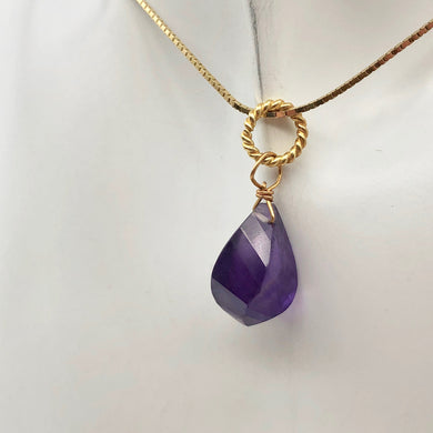 AAA Amethyst Faceted Twist Briolette Pendant | 12.5x8mm, 1
