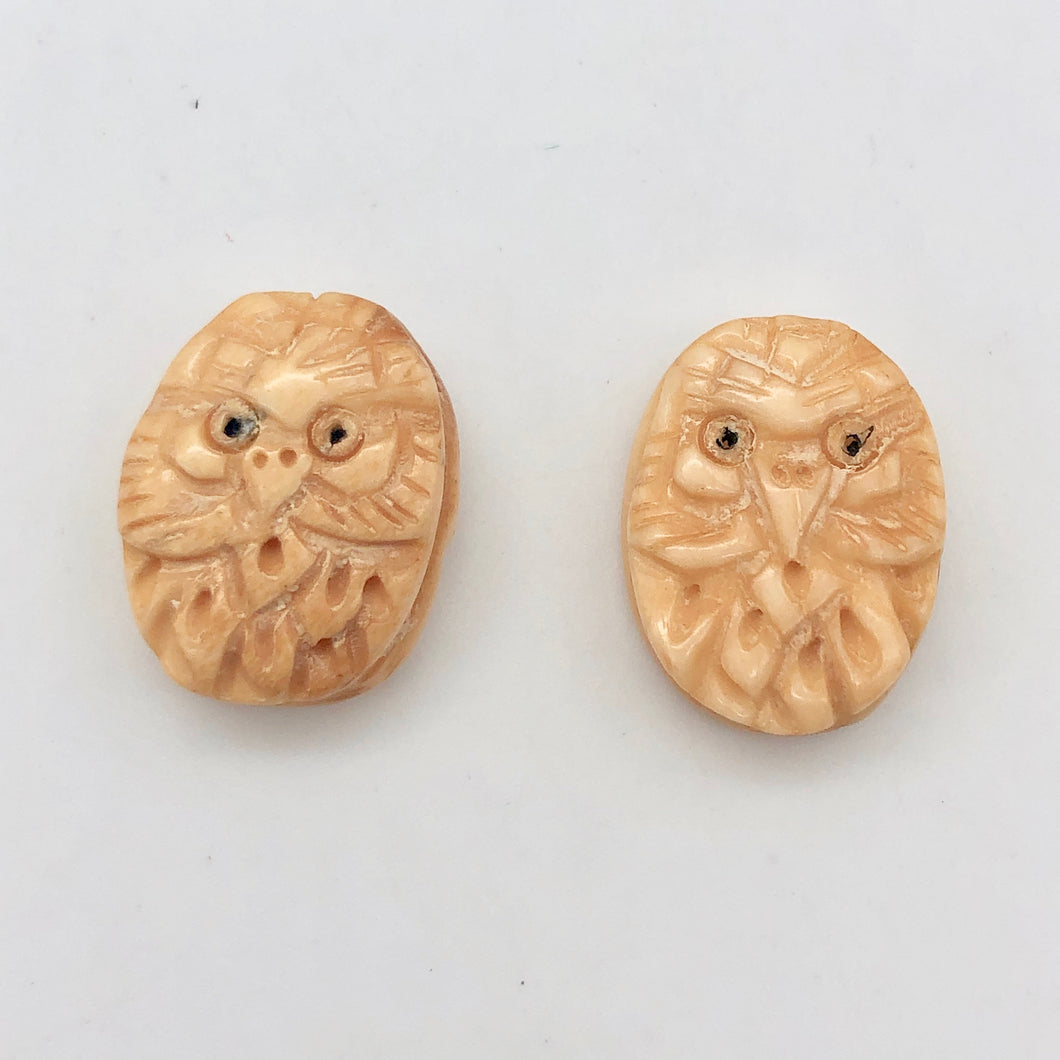 Pair of Wise Owl Carved Beads | 2 Beads | 16x13x5mm | 8625 - PremiumBead Primary Image 1