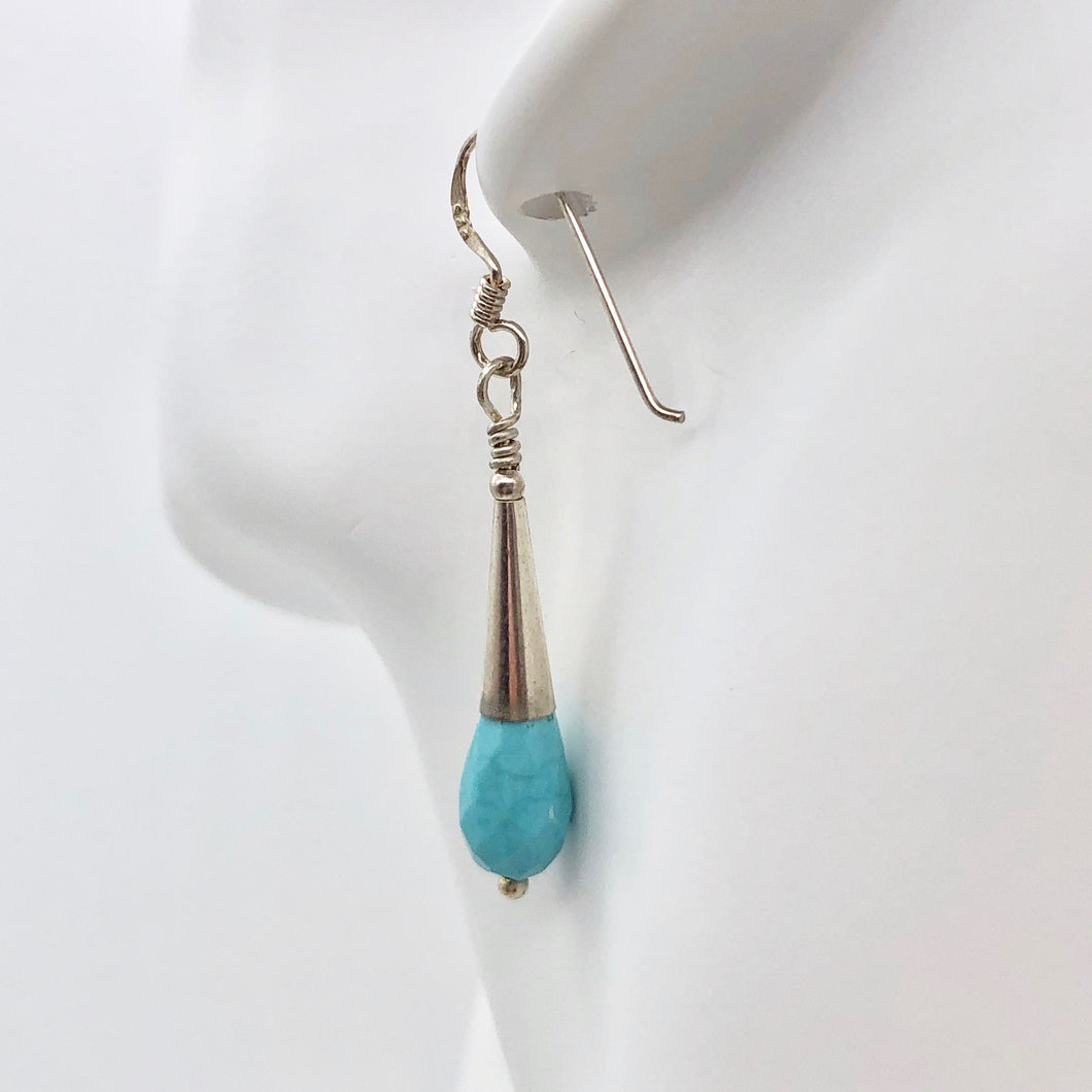 Natural Blue Turquoise and Silver Earrings |Turquoise|1.75