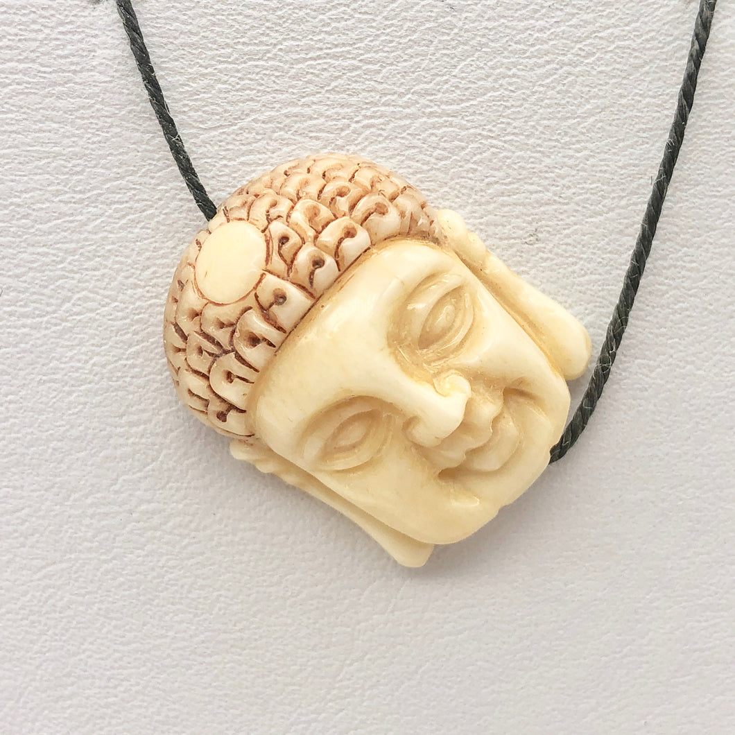 Carved Buddha Centerpiece Waterbuffalo Bone Bead | 23.5x19x9mm | 10842 - PremiumBead