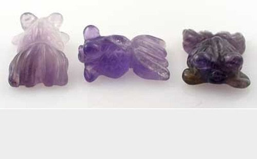 2 Carved Animal Amethyst Goldfish Beads | 20x14x8mm | Purple - PremiumBead Primary Image 1