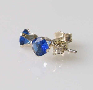 September! 3mm Created Sapphire & Silver Earrings 10146I - PremiumBead