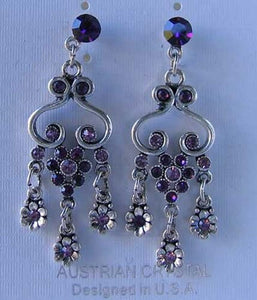 Antiqued Silvertone & Purple Crystal Fashion Earrings 10079A - PremiumBead Primary Image 1