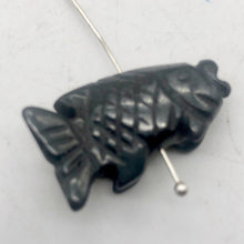 Load image into Gallery viewer, Swimming 2 Hand Carved Hematite Koi Fish Beads | 23x11x5mm | Silver black - PremiumBead