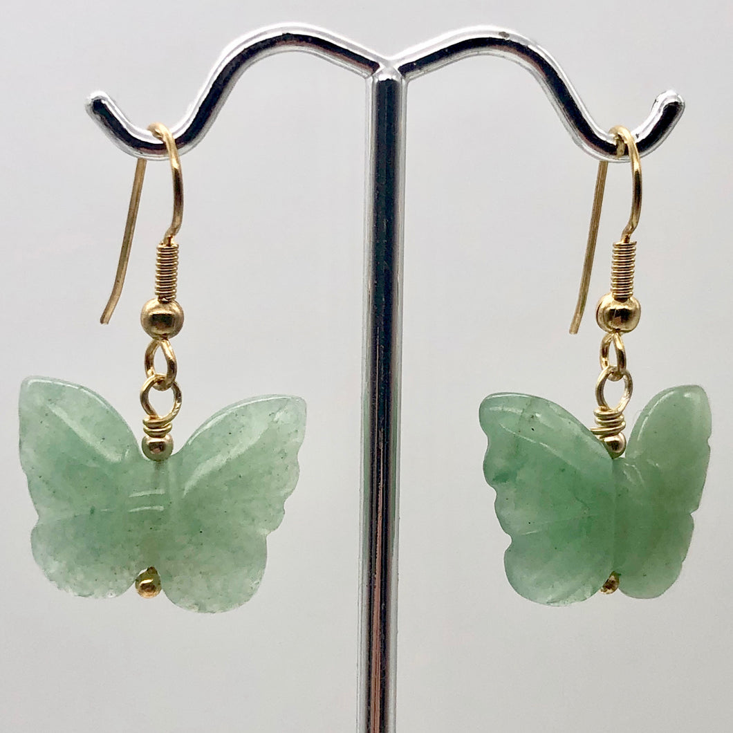 Aventurine Butterfly 14Kgf Gold Earrings | Semi Precious Stone Jewelry | - PremiumBead