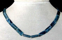 Load image into Gallery viewer, Rare Natural Deep Blue Apatite Flat Tube Bead Strand 105635 - PremiumBead