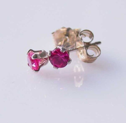 July! 3mm Created Ruby & Silver Earrings 10146G - PremiumBead