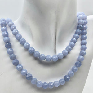 8 AAA Faceted 8mm Blue Chalcedony Beads - PremiumBead