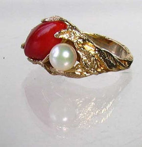 Natural Red Coral & Pearl Carved Solid 14Kt Yellow Gold Ring Size 5.75 9982D - PremiumBead Alternate Image 6