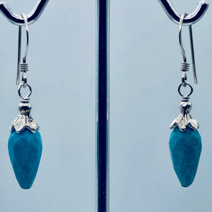 Charming Designer Natural Untreated Kingman Turquoise Earrings Sterling Silver - PremiumBead