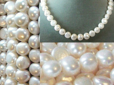 Snow White 12x11 to 9x9.5mm FW Pearls 16 inch Strand 3137 - PremiumBead