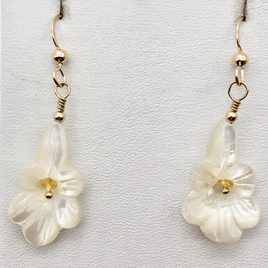 Shimmer! Carved Mother of Pearl Flower Earrings w/Yellow Sapphire Center 14Kgf - PremiumBead