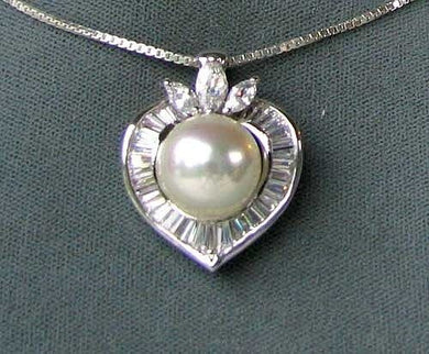 13mm Cream Tahitian Shell Pearl W/Cubics 925 Sterling Silver Pendant 6408 - PremiumBead Primary Image 1