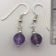 Load image into Gallery viewer, Royal Natural Untreated 8mm Faceted Amethyst Solid Sterling Silver Earrings - PremiumBead Alternate Image 2