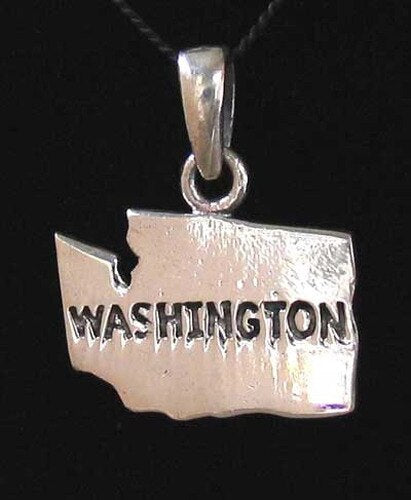 Evergreen State Sterling Silver Washington State Traditional Charm Pendant 9969A - PremiumBead