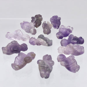 2 Hand Carved Amethyst Goddess of Willendorf Beads | 20x9x7mm | Purple - PremiumBead