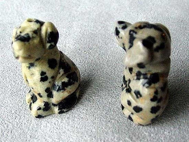 2 Dalmatian Stone Hand Carved Dog Beads | 22x15x15mm | Grey with Black Speckles - PremiumBead Primary Image 1