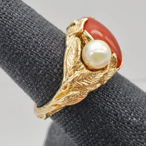Natural Red Coral & Pearl Carved Solid 14Kt Yellow Gold Ring Size 5.75 9982D - PremiumBead Alternate Image 9