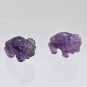Prosperity Amethyst Hand Carved Bison / Buffalo Figurine | 21x11x8mm | Purple - PremiumBead