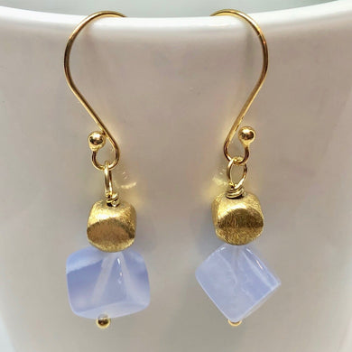 Blue Chalcedony and 22K Vermeil Brushed Bead Earrings! 309231C - PremiumBead