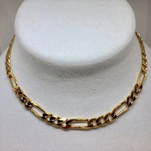 "Load image into Gallery viewer, Italian Vermeil 6.5mm Figaro Chain 18"" Necklace (26 Grams) 10023A - PremiumBead Primary Image 1"