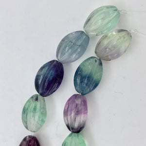 "Rare! Carved 14x10mm Oval Fluorite 13"" Bead Strand! - PremiumBead Alternate Image 9"