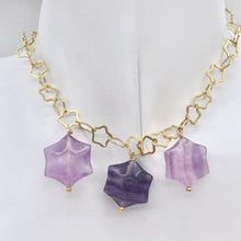 Load image into Gallery viewer, Natural Fluorite & 22K Vermeil Star 18 inch Necklace 209245Fl - PremiumBead Primary Image 1