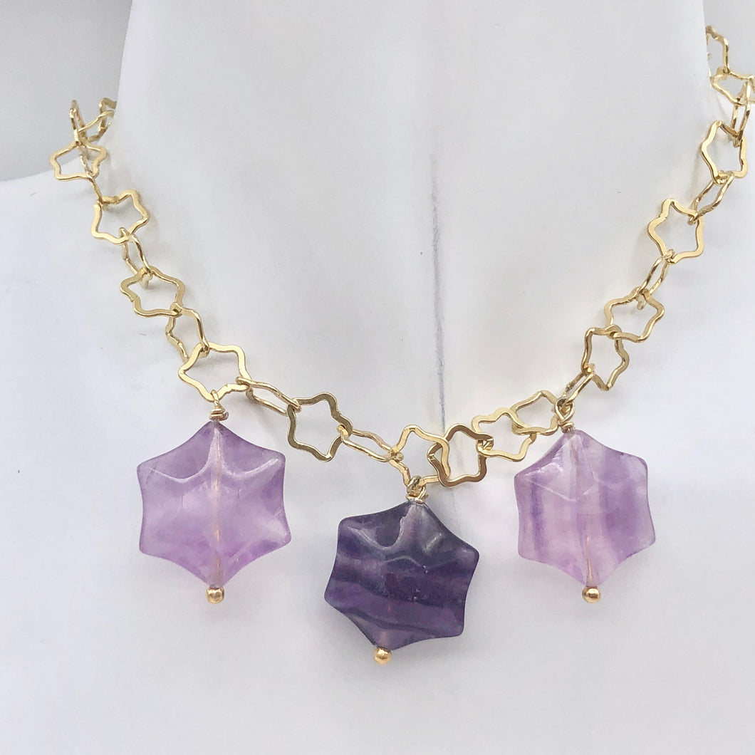 Natural Fluorite & 22K Vermeil Star 18 inch Necklace 209245Fl - PremiumBead Primary Image 1