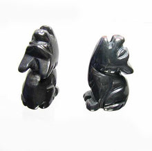 Load image into Gallery viewer, howling-new-moon-2-carved-hematite-wolf-coyote-beads-21x11x8mm-silver-black-15967