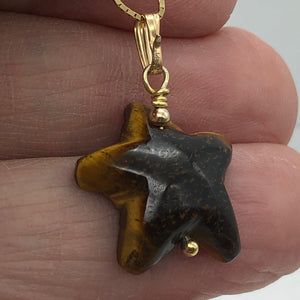 Tiger Eye Starfish Pendant Necklace | Semi Precious Stone | 14k gf Pendant - PremiumBead