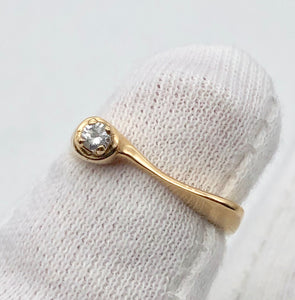 Natural Diamond Solid 14K Yellow Gold Pinky Ring Size 4 1/2 9982Am - PremiumBead
