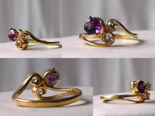 Load image into Gallery viewer, Purple Amethyst White topaz Solid 14Kt Yellow Gold Solitaire Ring Size 7 9982Az - PremiumBead
