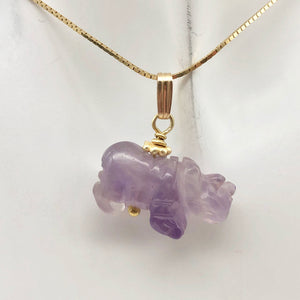 Hand Carved Rhino Amethyst Rhinoceros and 14k Gold Filled Pendant 509275AMLG - PremiumBead Alternate Image 8