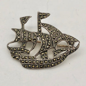 Clipper Sailing Ship Sterling Silver Lapel Brooch Pin | 25x28mm | 1 inch tall | - PremiumBead