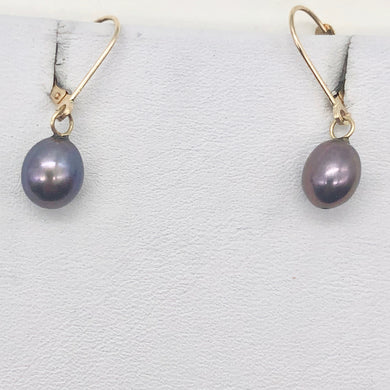 Rainbow Lavender Freshwater Pearl and 14K Drop Lever Back Earrings | 1 inch | - PremiumBead