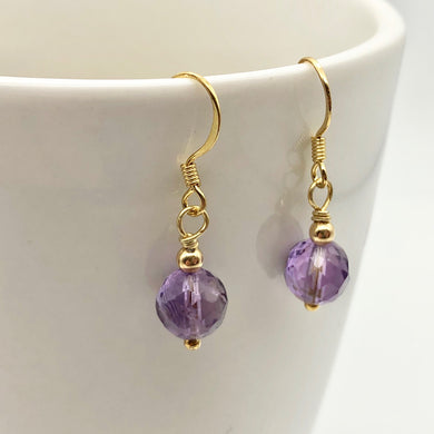 Royal Natural Amethyst 22K Gold Over Solid Sterling Earrings 310453C - PremiumBead Primary Image 1