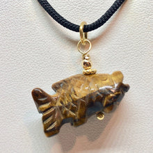 Load image into Gallery viewer, Tigereye Koi Fish W/ 22K Vermeil Pendant 509265TEG - PremiumBead