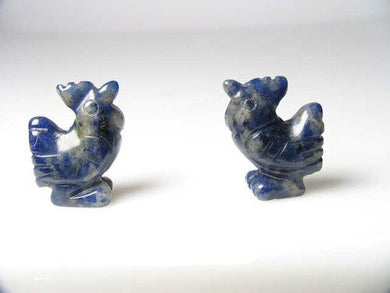 2 Cute Hand Carved Sodalite Rooster Beads | 21x16x8.5mm | Blue white - PremiumBead