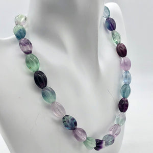 "Rare! Carved 14x10mm Oval Fluorite 13"" Bead Strand! - PremiumBead Alternate Image 2"
