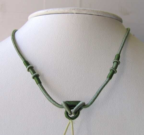 Olive Green Wrapped Silk Cording 16-26 inch Necklace 10528A - PremiumBead