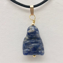 "Load image into Gallery viewer, Namaste Hand Carved Sodalite Buddha and 14K Gold Filled Pendant, 1.5"" Long - PremiumBead"