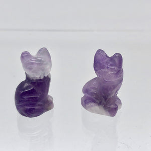 Adorable! 2 Amethyst Sitting Carved Cat Beads | 21x14x10mm | Purple - PremiumBead