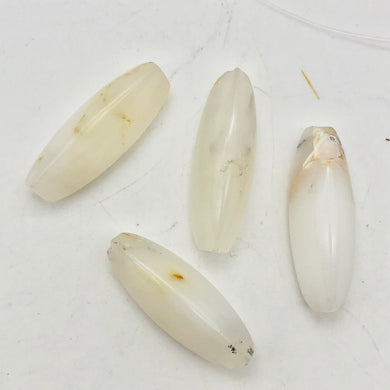 4 (Four) Pristine White Dendritic 28x10x10mm Opal Triangle cut Beads - PremiumBead Primary Image 1